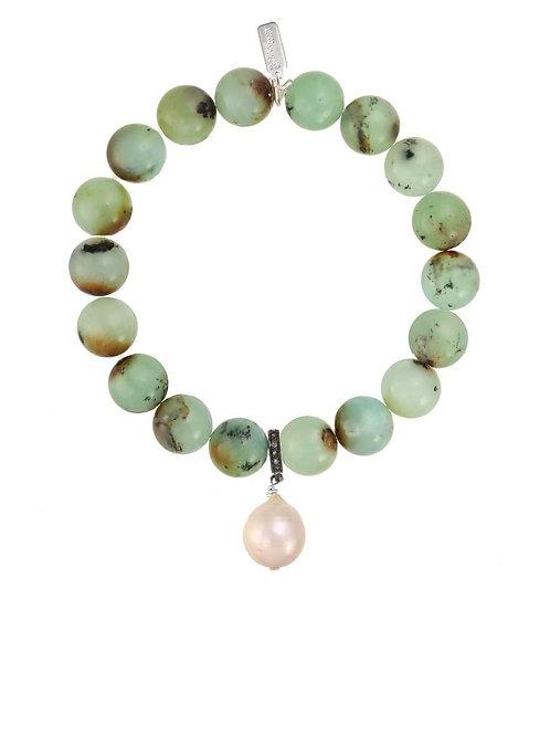Chrysoprase & Baroque Pearl Bracelet - Margo Morrison