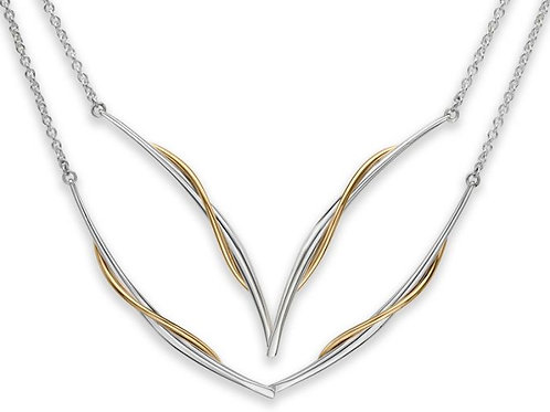 """Vineyard"" Swing Necklace - Sterling Silver & 14kt Gold - Ed Levin Studio"
