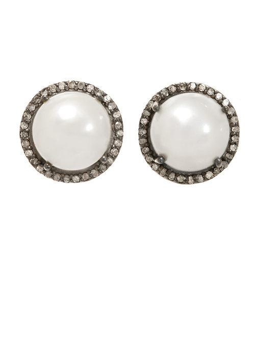White Pearl & Pave Diamond Earrings