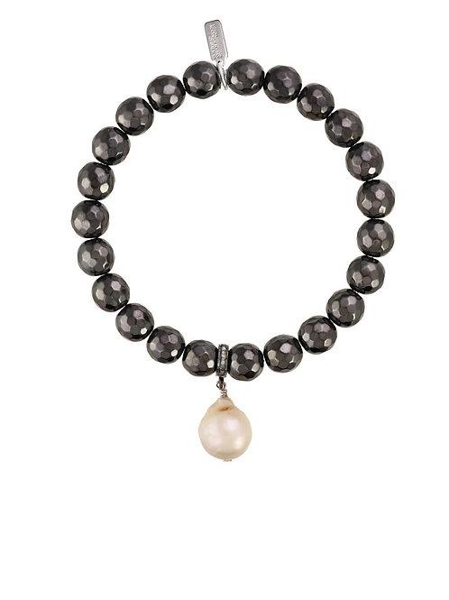 Hematite & Baroque Pearl Bracelet - Margo Morrison