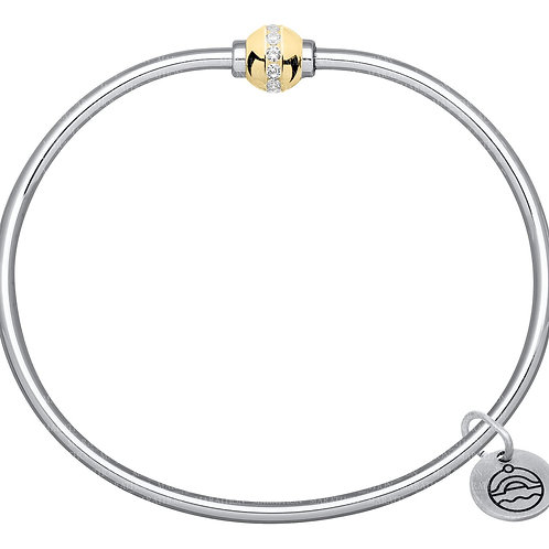 Cape Cod Bracelet - Sterling Silver With 14kt Gold & Diamond Ball