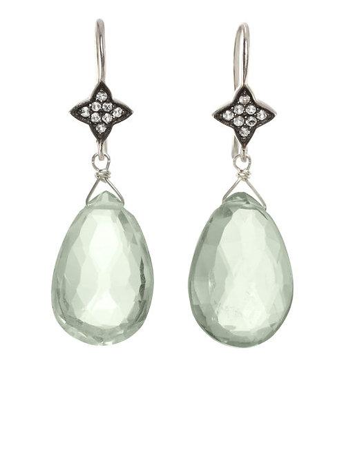 Green Amethyst & White Sapphire Earrings