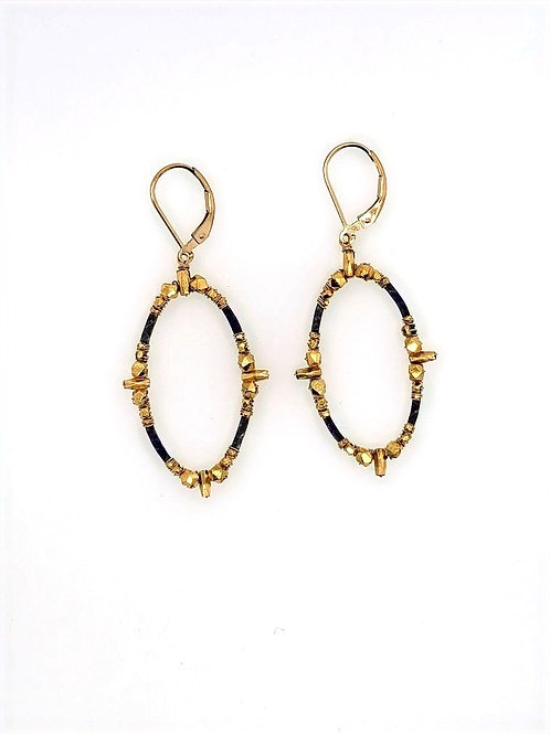 Oxidized Sterling Silver & 14kt Gold Fill Earrings - Dana Kellin