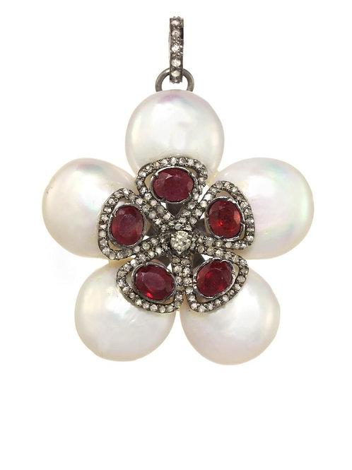 Ruby, Coin Pearl & Diamond Charm - Margo Morrison