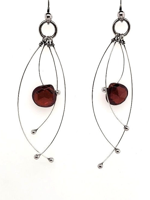 """Tickle"" Earrings - Sterling Silver & Red Garnet"