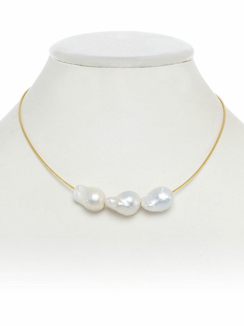 "18kt Gold Vermeil Necklace With Baroque Pearls - 16"" - Margo Morrison"