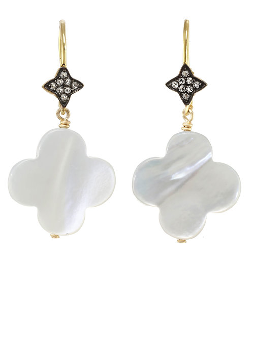 Mother of Pearl & White Sapphire Earrings