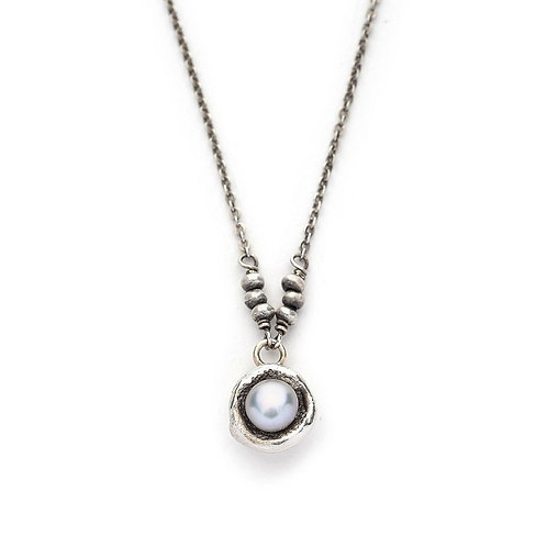 Grey Pearl & Sterling Silver Necklace - J&I
