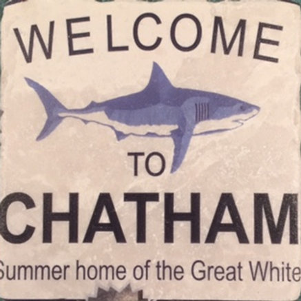 """Welcome to Chatham"" Coaster - Marble"