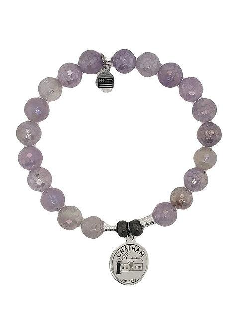 Chatham Charm Bracelet - Mauve Jade & Sterling Silver