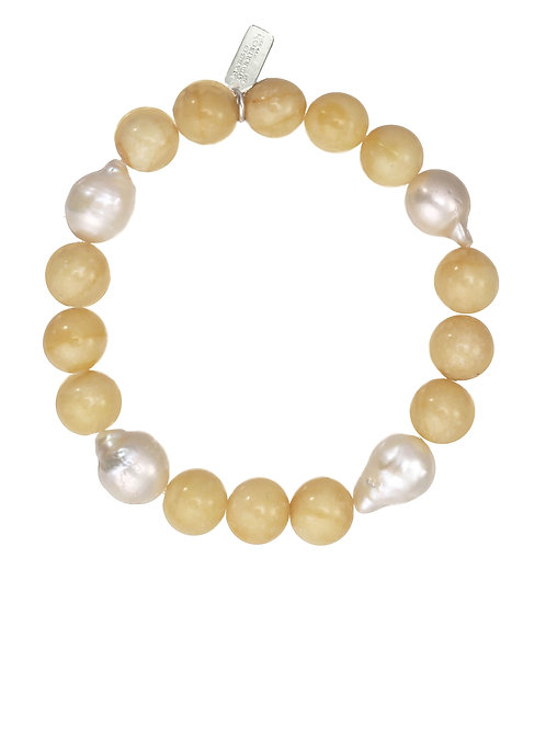 Margo Morrison - Yellow Jade With Four Baroque Pearls Bracelet