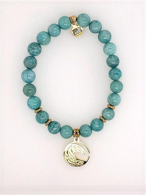 Amazonite Bead & 14kt Gold Vermeil Wave Charm Bracelet - T. Jazelle
