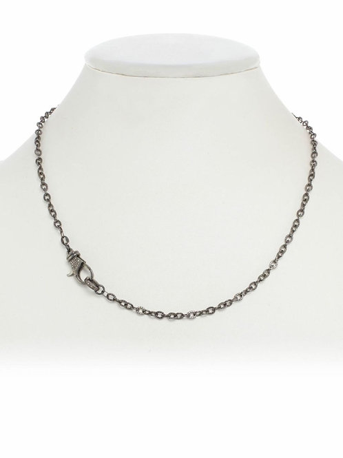 "18"" Sterling Silver Chain With Pave Diamond Clasp - Margo Morrison"