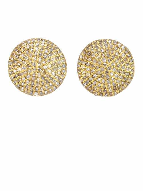 18kt Gold Vermeil & Pave Diamond Stud Earrings - Margo Morrison