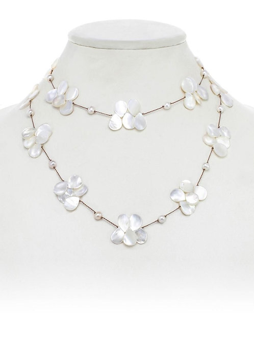 Mother of Pearl Teardrop & Freshwater Pearl Necklace - Margo Morrison
