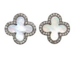 "Mother of Pearl & Pave Diamond ""Clover"" Earrings - Margo Morrison"