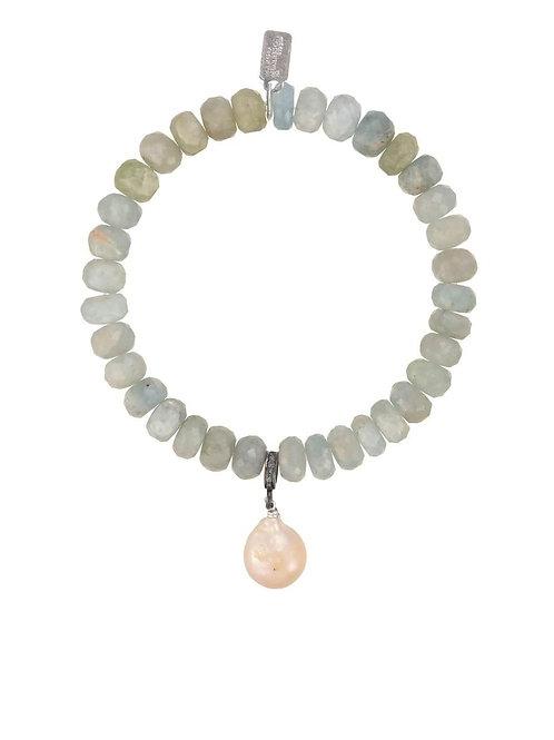 Aquamarine Rondelle & Baroque Pearl Bracelet - Margo Morrison