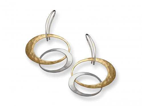 """Entwined Elegance"" Earrings - Sterling Silver & 14kt Gold Overlay"