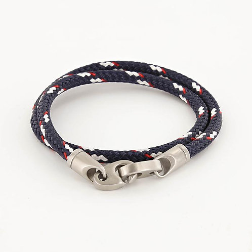 Double Wrap Rope Bracelet With Matte Stainless Steel Clasp - Navy/Red/White