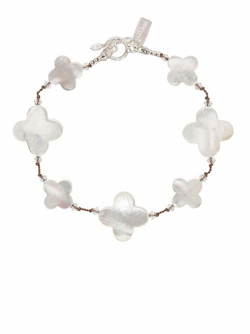 White Mother of Pearl Clover Shape Bracelet - Margo Morrison