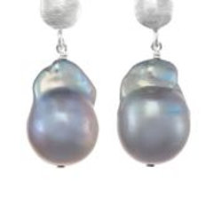 Grey Baroque Pearl & Sterling Silver Earrings - Margo Morrison
