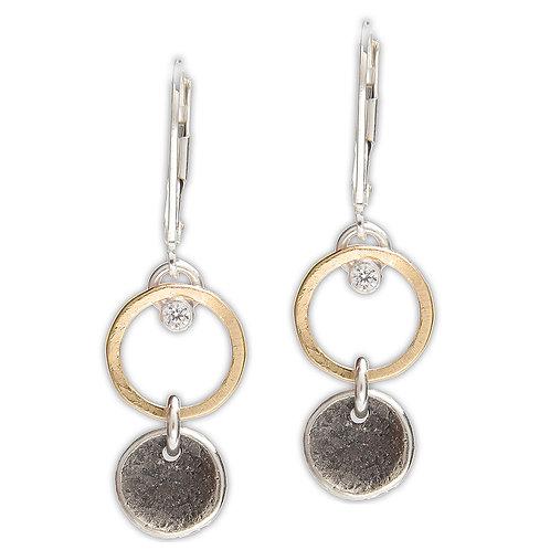 Sterling Silver, 14kt Gold Fill & CZ Earrings - J&I