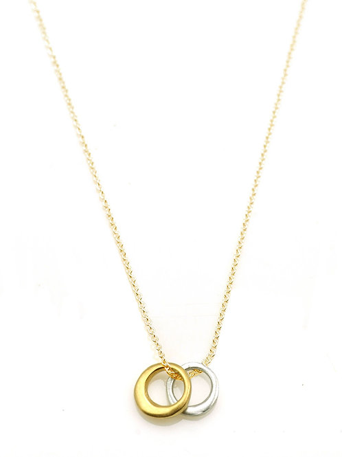 Two Circle Necklace - Sterling Silver & Vermeil - Philippa Roberts