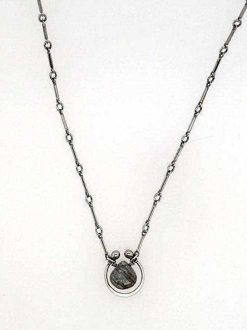 """Horseshoe"" Necklace - Sterling Silver & Labradorite"