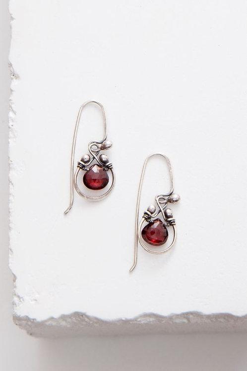 """""""Horseshoe"""" Earrings - Garnet & Sterling Silver"""