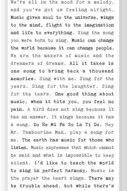 """""""Music"""" - Typewriter Sign"""