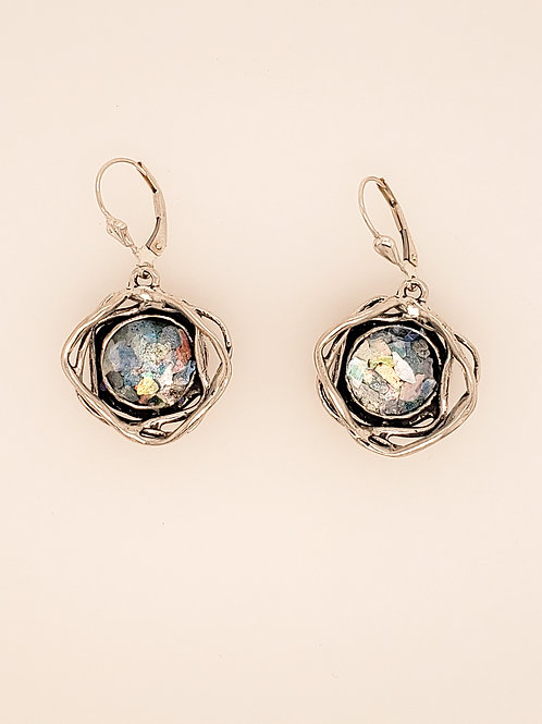 Roman Glass Wire Earrings - Sterling