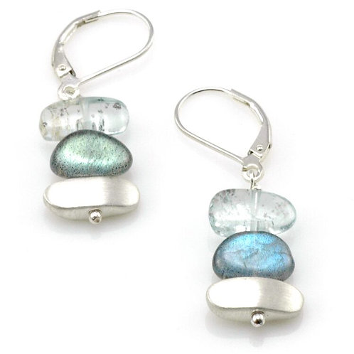 "Labradorite, aquamarine & sterling ""Nuggets"" Earrings - Philippa Roberts"