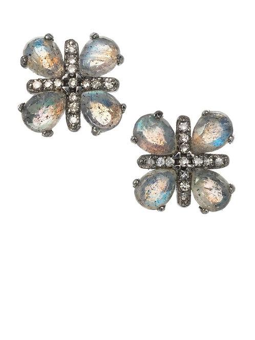Labradorite & Diamond Earrings - Margo Morrison