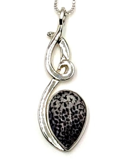 Fossilized Alaskan Coral & Sterling Silver Pendant