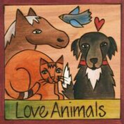 """Love Animals"" Wood Wall Plaque"