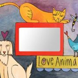 """Love Animals"" Wood Picture Frame"