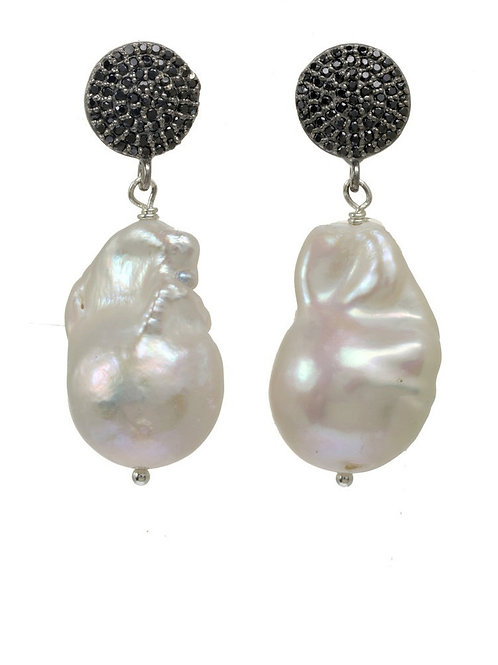 White Baroque Pearl & Black Spinel Earrings