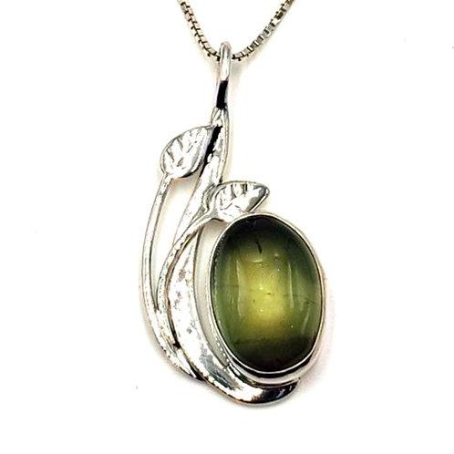 Prehinite & Sterling Silver Pendant