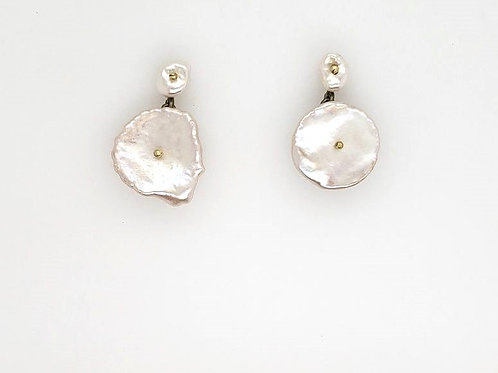 """Silver Dollar"" Post Earrings - Keishi Pearls - Michael Michaud"