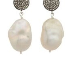 White Baroque Pearl & Pave Earrings