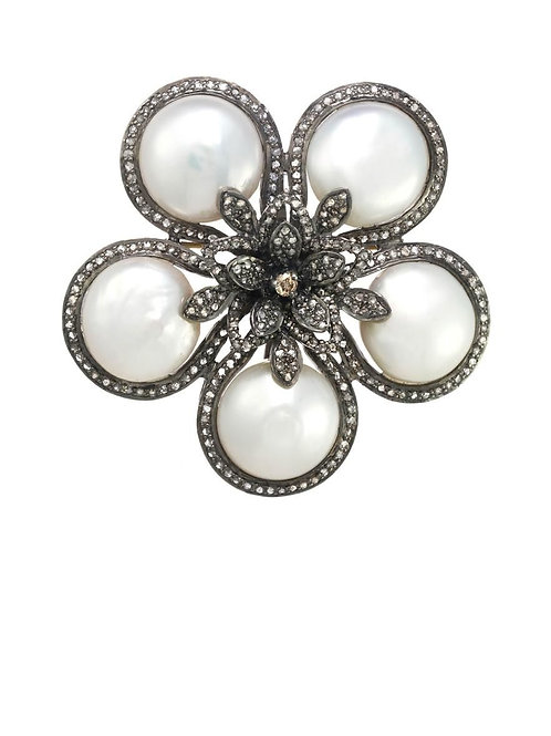 Coin Pearl & Pave Diamond Charm - Margo Morrison