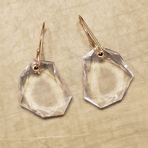 Jamie Joseph Designs - Faceted Rock Crystal & 14kt Gold Earrings