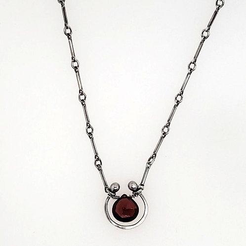 """Horseshoe"" Necklace - Sterling Silver & Red Garnet"