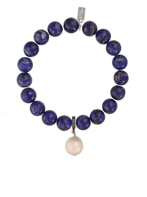 Lapis & White Baroque Pearl Bracelet - Margo Morrison