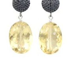 Citrine & Black Spinel Earrings