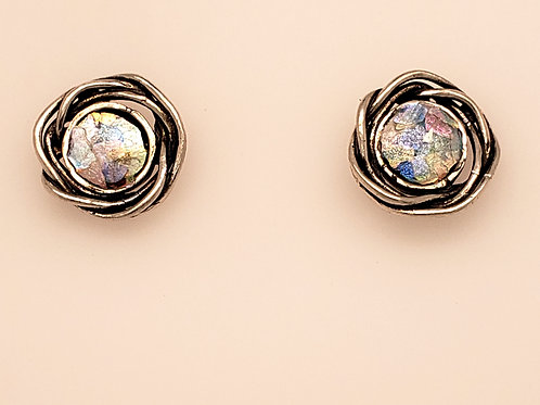 Roman Glass Earrings - Sterling
