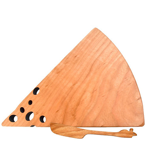 "Cherry Wood ""Swiss Cheese"" Board & Mouse Spreader"