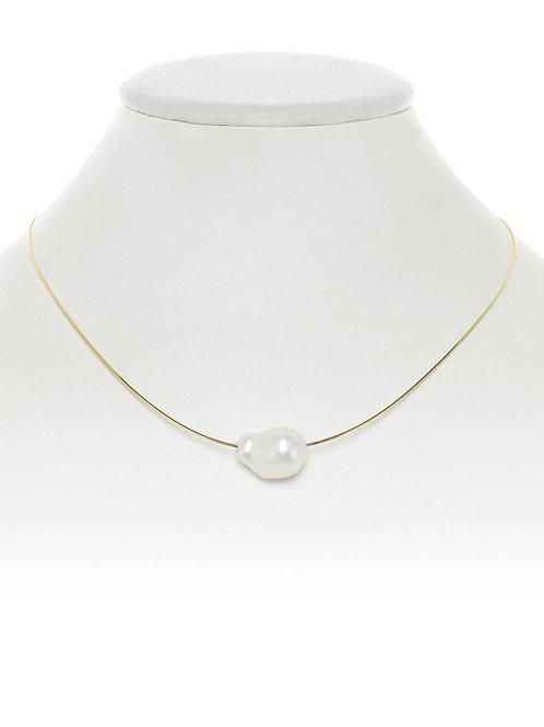 "18Kt Gold Vermeil  & Baroque Pearl Necklace - 16"" - Margo Morrison"