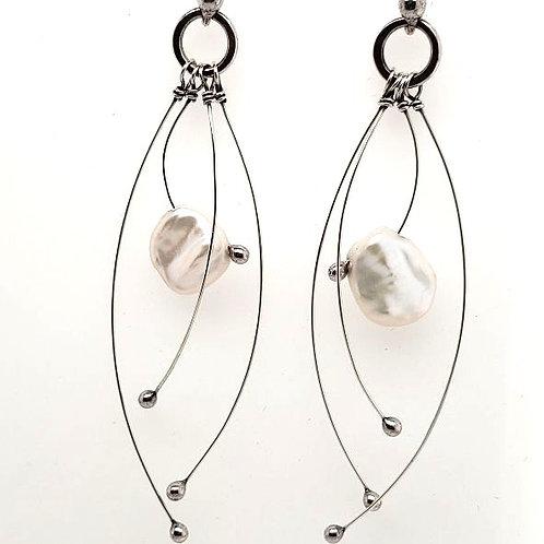 """Tickle"" Earrings - Sterling Silver & Freshwater Pearl"