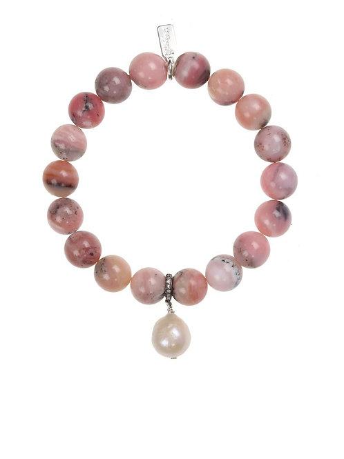 Pink Opal & White Baroque Pearl Bracelet - Margo Morrison